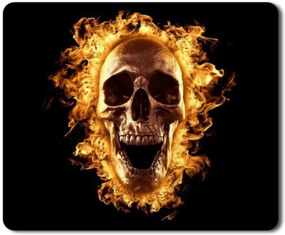5 ACE Anti skid animated Skull burned in fire Printed designer speed Mouse pad for PC/Laptop  7x8.5 Inches Mousepad(Multicolor)