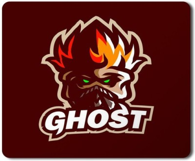5 ACE Anti skid animated Ghost fire mascot Printed designer speed Mouse pad for PC/Laptop  7x8.5 Inches Mousepad(Maroon&White)