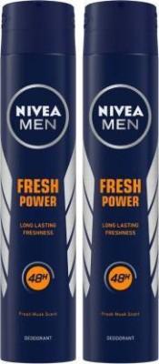 NIVEA Fresh Power Body Spray  -  For Men(400 ml, Pack of 2)