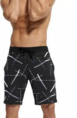 TRIPR Printed Men Black Regular Shorts