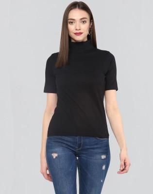 Remanika Solid Women High Neck Black T-Shirt