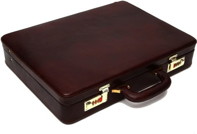 LINDSEY STREET Genuine Leather Attache Briefcase Executive Leather Attache Business Handbag for Men Large Briefcase - For Men(Brown)