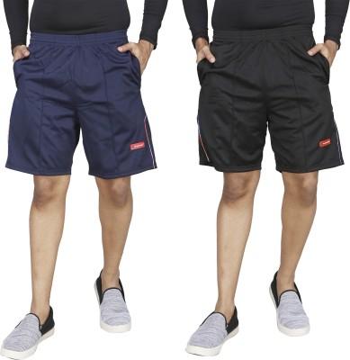 CARLTRON Solid Men Black, Blue Sports Shorts