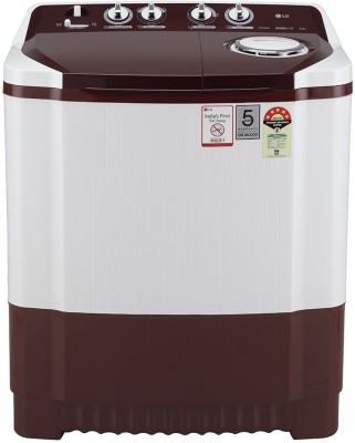 LG 8 kg Semi Automatic Top Load White, Maroon P8030SRAZ LG Washing Machines