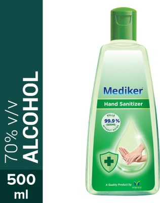 Mediker Alcohol Based Instantly Kills 99.9% Germs Without Water Hand Sanitizer Bottle(500 ml)