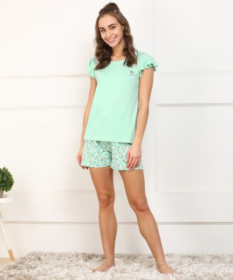 DreamBe Women Floral Print Green Top & Shorts Set