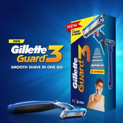 Gillette Guard 3 Shaving Combo (1 Razor + 8 Cartridges) (Pack of 9)