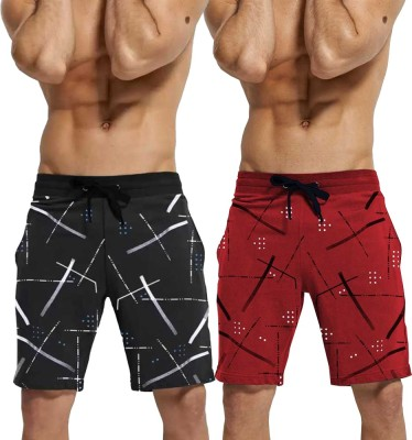 Tripr Printed Men Red, Black Regular Shorts