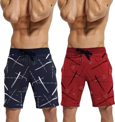 Tripr Printed Men Dark Blue, Red Regular Shorts