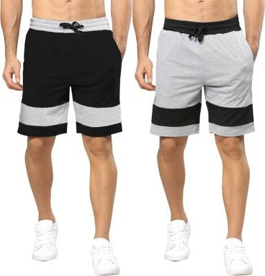 Tripr Color Block Men Black, Grey Regular Shorts