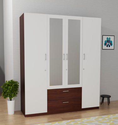 Barewether Engineered Wood 4 Door Wardrobe(Finish Color - Walnut with White, Mirror Included, Knock Down)