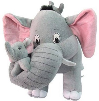 Hello Baby Mother Elephant With Two Babies   40 Cm Grey    40 cm Grey, Pink Hello Baby Soft Toys