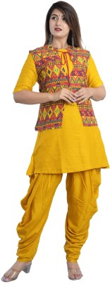 Odhani Women Ethnic Jacket, Top and Dhoti Pant Set