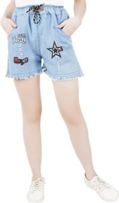 NSG Printed Women Denim Light Blue Denim Shorts