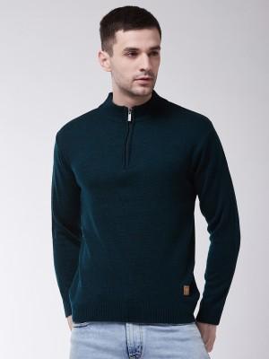 Sweven Solid Turtle Neck Casual Men Dark Blue Sweater