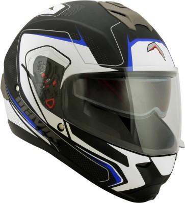 HEADFOX MX SMART BLUETOOTH BL Motorsports Helmet(White, Blue, Black)