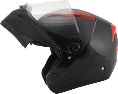 HEADFOX Smart BLUETOOTH with Inbuit PowerBank Motorsports Helmet(Black, Red)