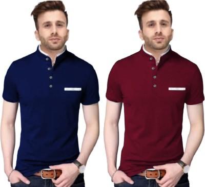 FastColors Solid Men Mandarin Collar Blue, Maroon T-Shirt(Pack of 2)