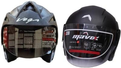 VEGA HELMET FOR ALL PURPOSE UNISEX COMBO SET-2 Motorbike Helmet Motorbike Helmet(Black)