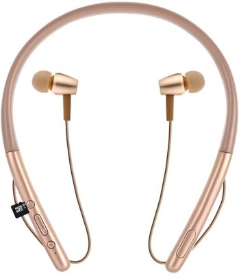 ROQ SOONY HI Bass 2 Mobile Connectivity Neckband Wireless Bluetooth Headset(Gold, In the Ear)
