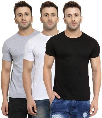 Muratti Solid Men Round Neck Black, Grey, White T-Shirt(Pack of 3)