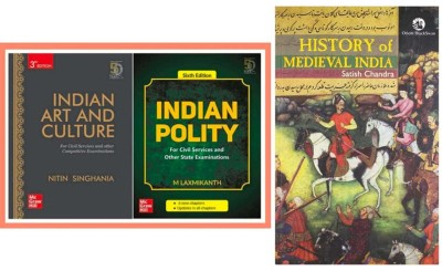"""Indian Polity By M. Laxmikant, Indian Art And Culture By Nitin Singhania And SATISH CHANDRA """"HISTORY OF MEDIEVAL INDIA"""" BY Satish Chandra (Fully And Revised Edition)Best For CIVIL Services,universities And Other Examination (Best Book For IAS,IPS,IFS,UPSC,PSC,Civil Services,UGC-Net And All Indian Go"""