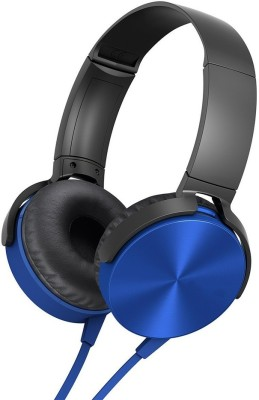 LIFEMUSIC Super Extra Bass On-Ear Wired Headphone In-line Mic Wired Headset(Blue, On the Ear)