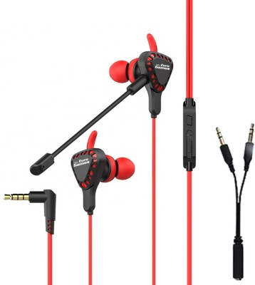 RPM Euro Games Gaming Earphone Headphone for Mobile Phone, PS4, PC Wired Headset Gaming Headphone(Red, In the Ear)