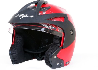 VEGA Crux OF (Open Face) Motorbike Helmet(Red)