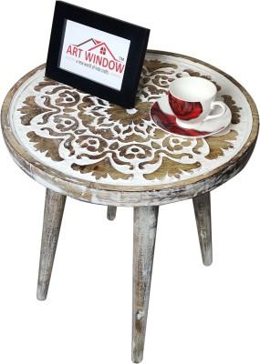 Art Window Flower White Coffee Table Living & Bedroom Stool(White)