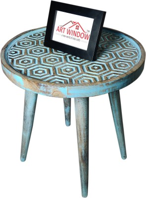 Art Window Hexagonal Blue Coffee Table Living & Bedroom Stool(Blue)