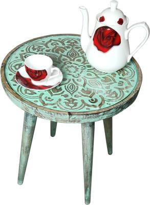 Art Window Floral Green Coffee Table Living & Bedroom Stool(Green)