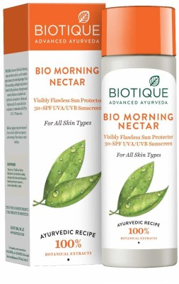 BIOTIQUE Morning Nectar Visibly Flawless Sun Protector 30+SPF UVA/UVB Sunscreen(120 ml)