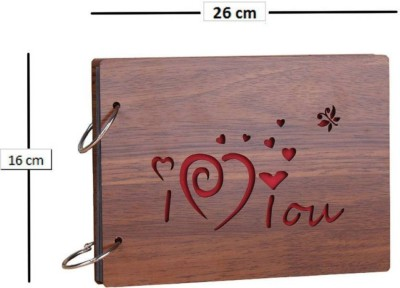 OM FASHION HUB Forever Love Wooden Scrapbook Photo Album for Memorable Gift on Boyfriend Girlfriend Husband Wife Spouse Birthdays, Valentines Day, Anniversary, Monthsary for Couples Album(Photo Size Supported: 4x6)