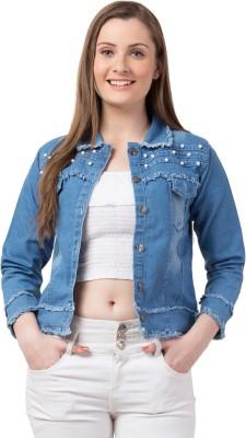Funday Fashion Full Sleeve Embellished, Self Design Women Jacket