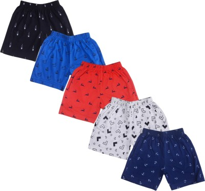 Kuchipoo Short For Boys & Girls Casual Printed Cotton Blend(Multicolor, Pack of 5)