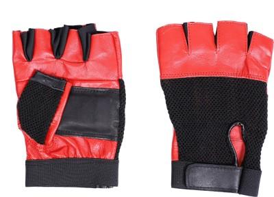 Vista RED LEATHER Gym & Fitness Gloves(Red, Black)
