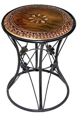 Art Window Iron Coffee Table 1 Living & Bedroom Stool(Black, Brown)