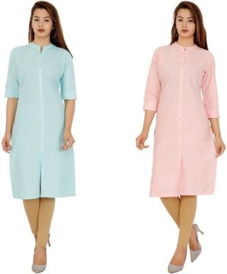 Rimeline Fashion Women Solid Straight Kurta(Light Blue, Pink)
