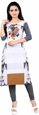 maruti fab Women Printed A-line Kurta(White, Grey)
