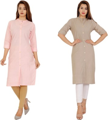 Rimeline Fashion Women Solid Straight Kurta(Pink, Grey)