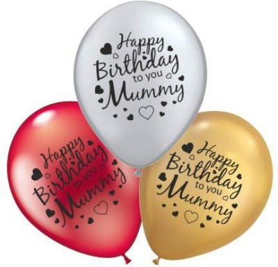 TMB Store Printed The Magic Balloons Store- Happy Birthday Mom Latex Balloons Pack of 30 pcs-181132… Balloon(Multicolor, Pack of 30)