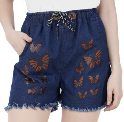 NSG Printed Women Blue Denim Shorts
