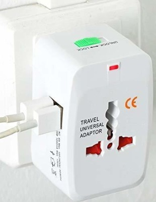 A3sprime Universal Travel Adapter with Built in Dual USB Charger Ports Converter Plug Adapter Worldwide Adaptor White A3sprime Laptop Accessories
