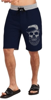 JUGULAR Printed Men Dark Blue Regular Shorts