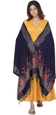 Kti Acrylic Self Design Women Shawl(Blue)