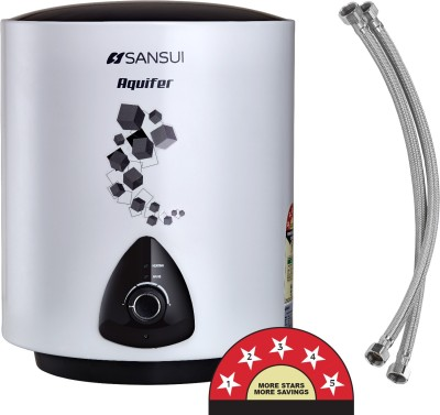 Sansui 15 L Storage Water Geyser with Pipes (SANG01, Sheen White)