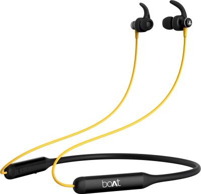 boAt Rockerz 335 Bluetooth Headset(Blazing Yellow, In the Ear)