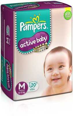 Pampers Active Baby Diapers, Medium, 20 Count   M