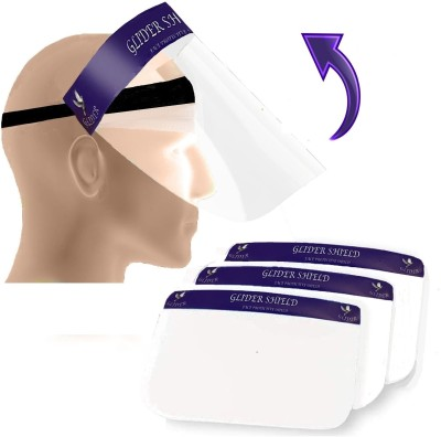 GLIDER Movable Face Shield - Reusable Full Face Transparent Breathable Visor Anti Saliva Windproof Dustproof Shield Protect Eyes and Face with Protective Clear Film Elastic Band (Pack of 3) Safety Visor(Size - Large)